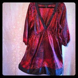 Lane Bryant v-neck textured satin print dress